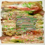 Glitch-alike 5, 2012, acrylic paint/ink on TerraSkin paper, 11 x 11 in. [private collection]