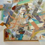 Spatial Complex, 2015, acrylic paint/ink on panel, 18 x 18 inches